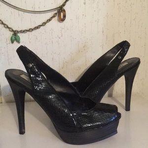 Vera Wang heels black sexy peep toe platform wow